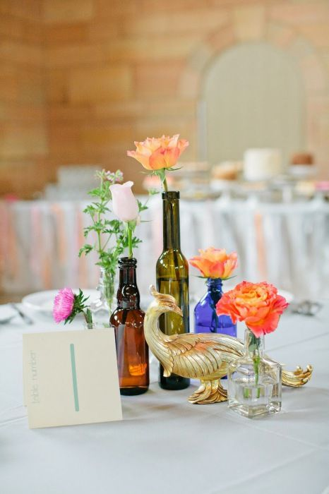 10 ideas of using empty bottles as a decoration for wedding table. More ideas: http://wonderdump.com/20-ideas-of-transformation-of-wine-bottles-in-stylish-and-functional-household-objects/