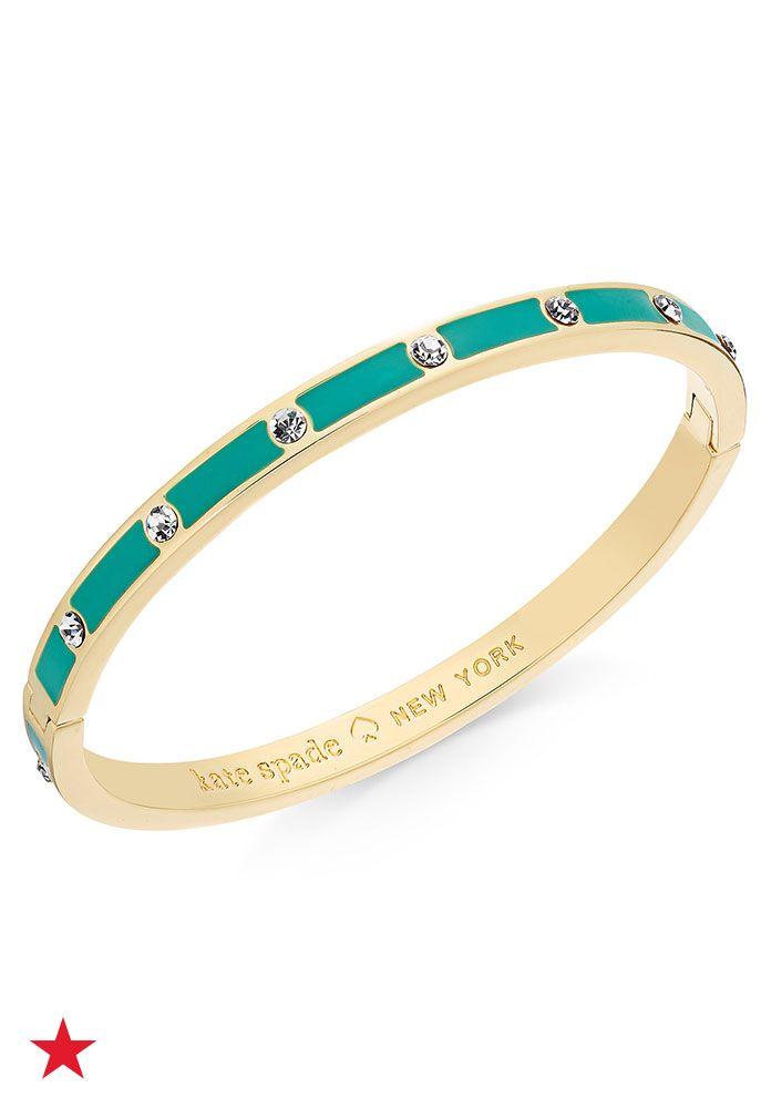 67e16da873c8 kate spade new york Gold-Tone Crystal Enamel Hinged Bangle Bracelet ...
