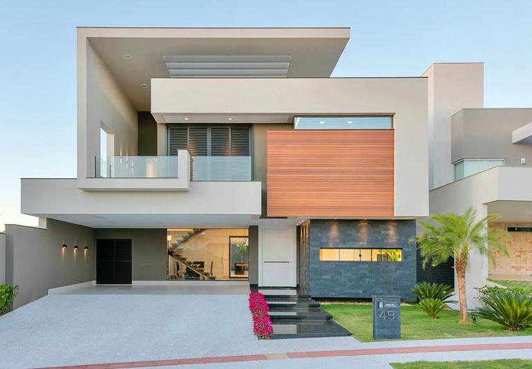 Casa De Un Solo Piso Presentamos Una Fachada Que Combina Madera Y