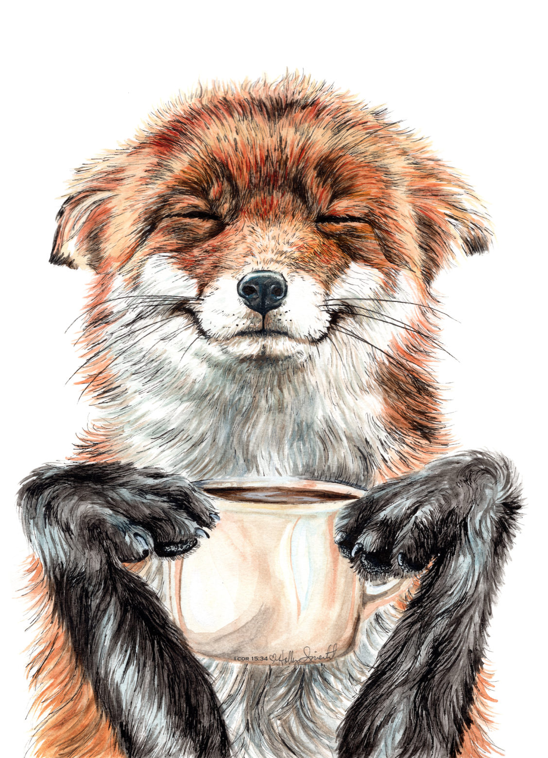 """""""'Morning fox' Red fox with her morning coffee"""" Art by Holly Simental on Society6 