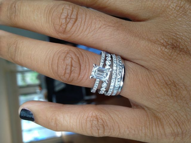 Image Result For Engagement Ring Emerald Cut Diamonds Halo Triple Twist Band