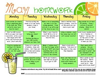 My May Homework Calendar  Kindergarten Odyssey