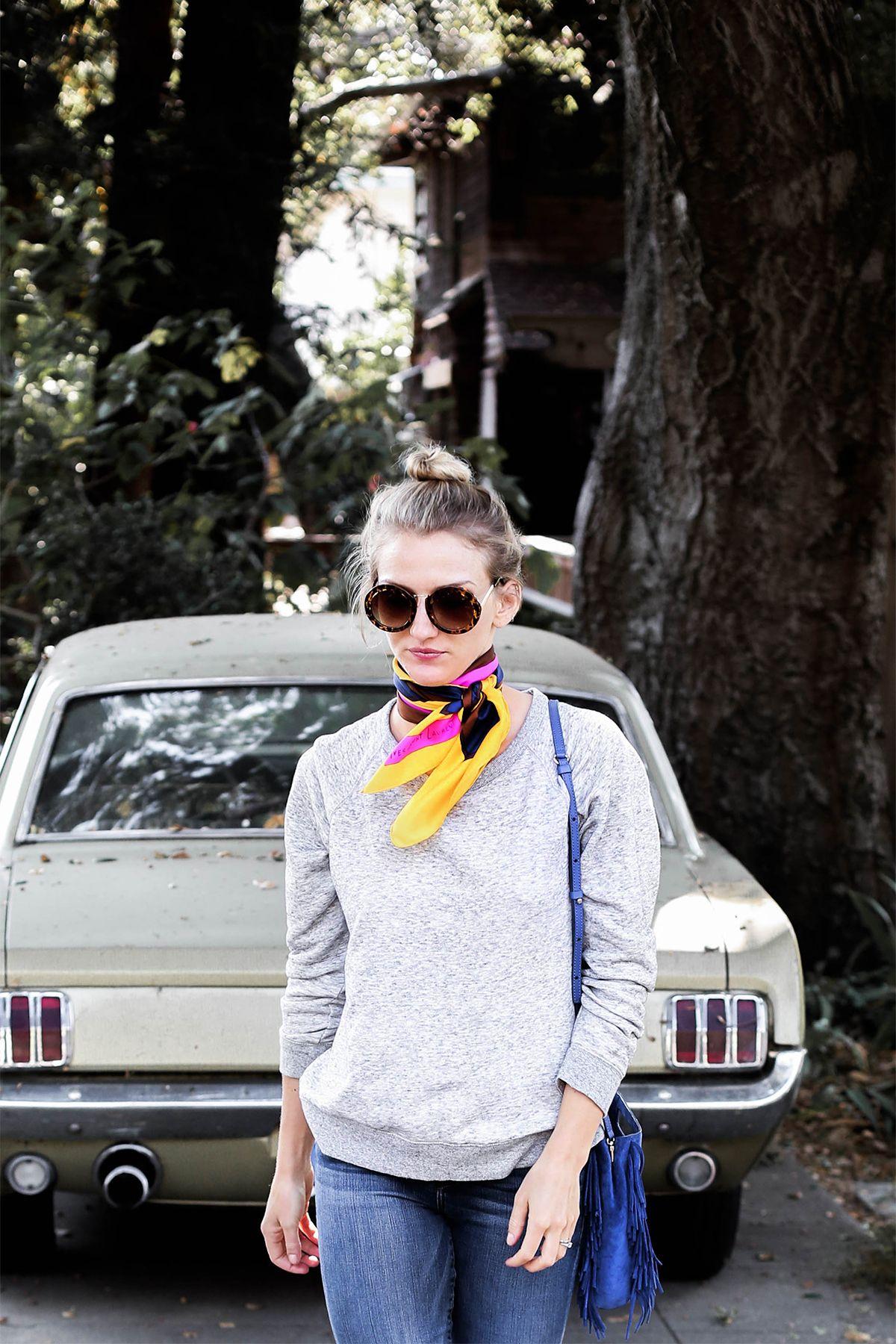 2bd012f913e4c 5 Ways To Wear A Silk Scarf | Style | How to wear, Fashion, Silk scarves