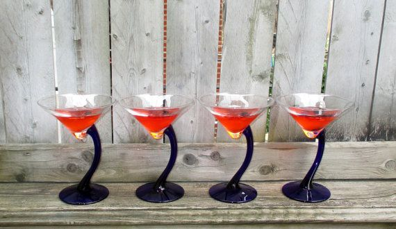 Hostess Gift / Gift for the Martini Lover by CarolesWeddingWhimsy, set of 4, Navy Blue Art Deco Martini Glasses - They can also be a Floating Candle Holder- perfect gift for the Martini Lover - You can find it here https://www.etsy.com/listing/201753782/hostess-gift-gift-for-the-martini-lover