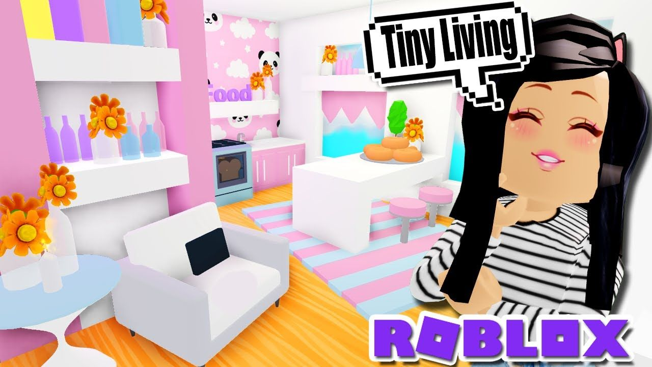 My Tiny Living Home Tour Build In Adopt Me Roblox Pink Kawaii Youtube Cute Room Ideas My Roblox Tiny Living
