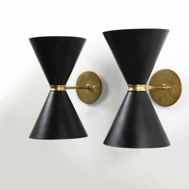 Black Sconces Gino Sarfatti For Arteluche 1941 With Images Mid Century Floor Lamps Black Sconces Wall Lamp