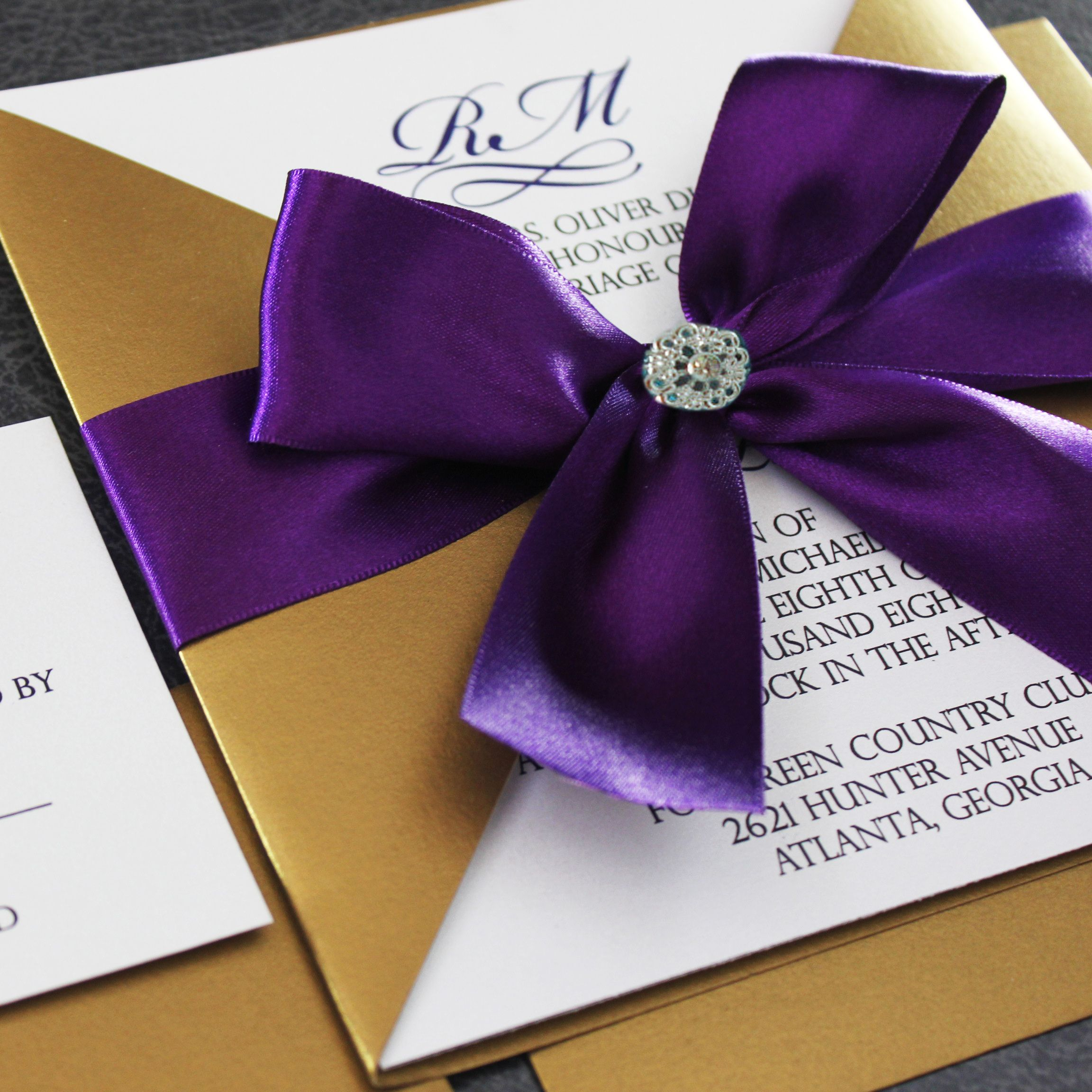 Gold And Purple Wedding Invitations: Share