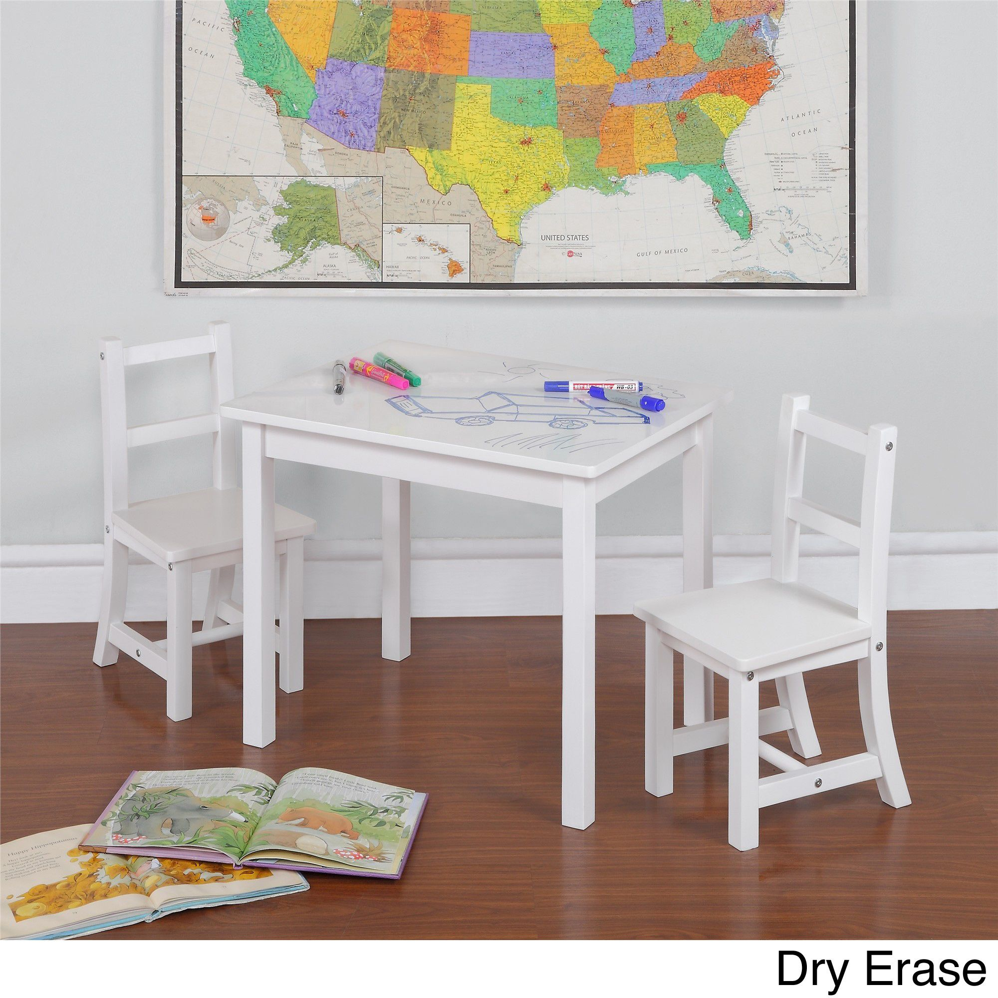 3 piece children's table and chair set with reversible top by