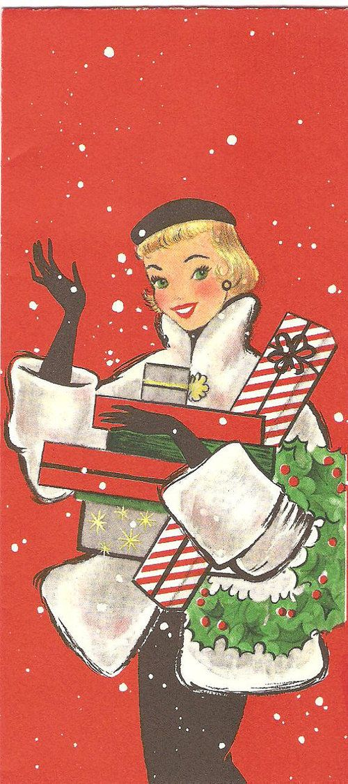 Hands down one of my favorite vintage Christmas card (image) finds ...