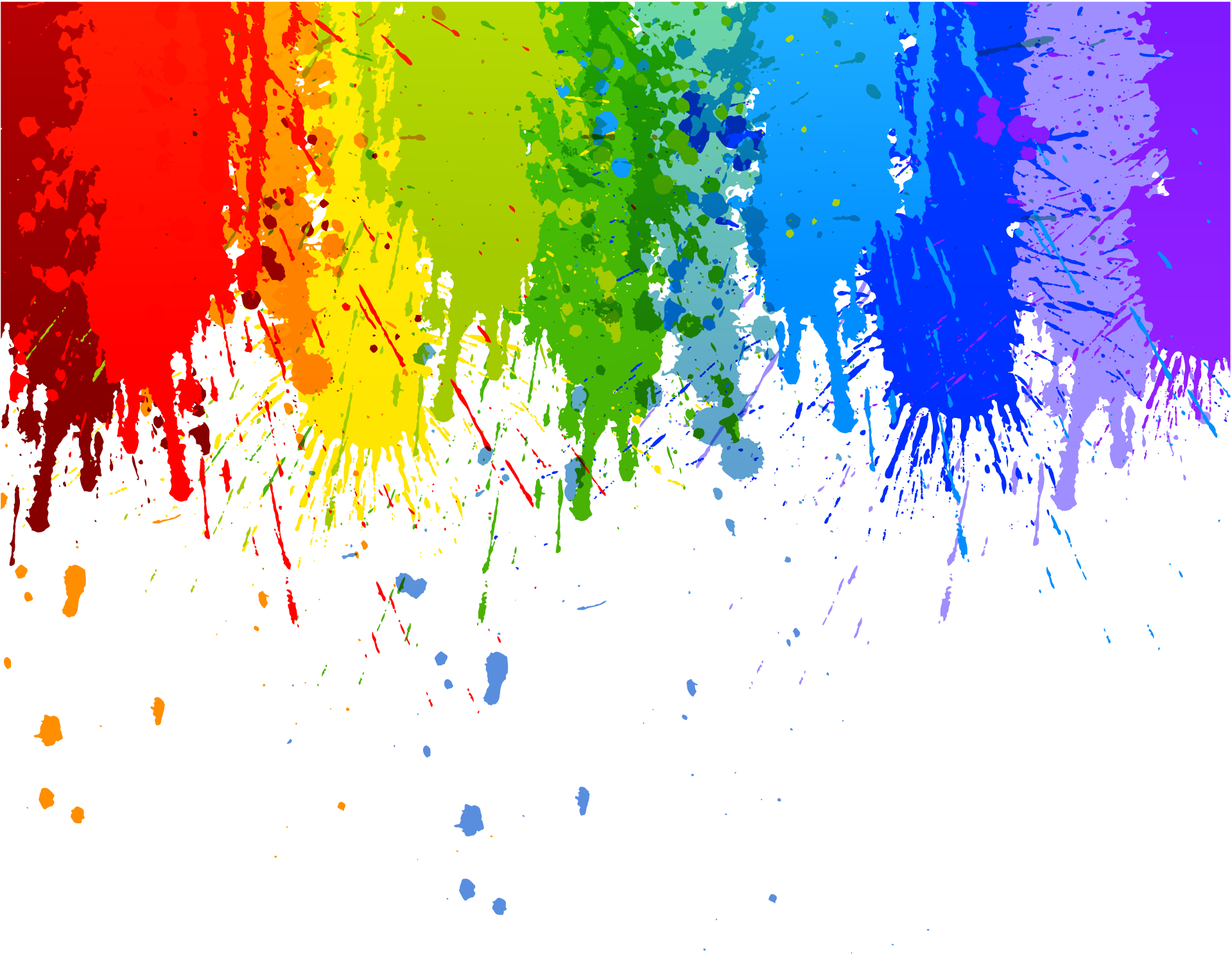 Rainbow colour splash drip transparent background for Artist canvas paint color