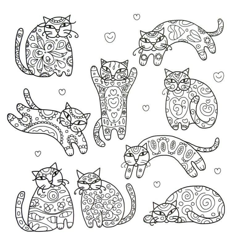 Fancy Cats Coloring Book Page Disegni Da Colorare Disegni Arte Di Bambino