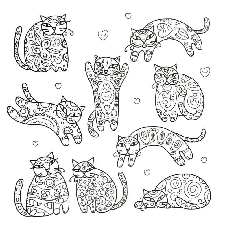 Fancy Cats Coloring Book Page Cat Coloring Book Animal Coloring