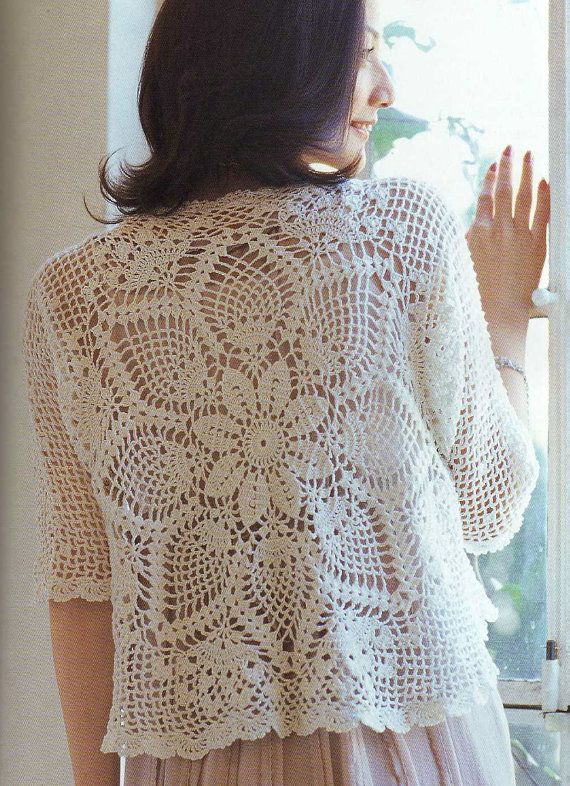 Book Cover Crochet Jacket : Crochet pineapple lace cardigan pattern japanese by