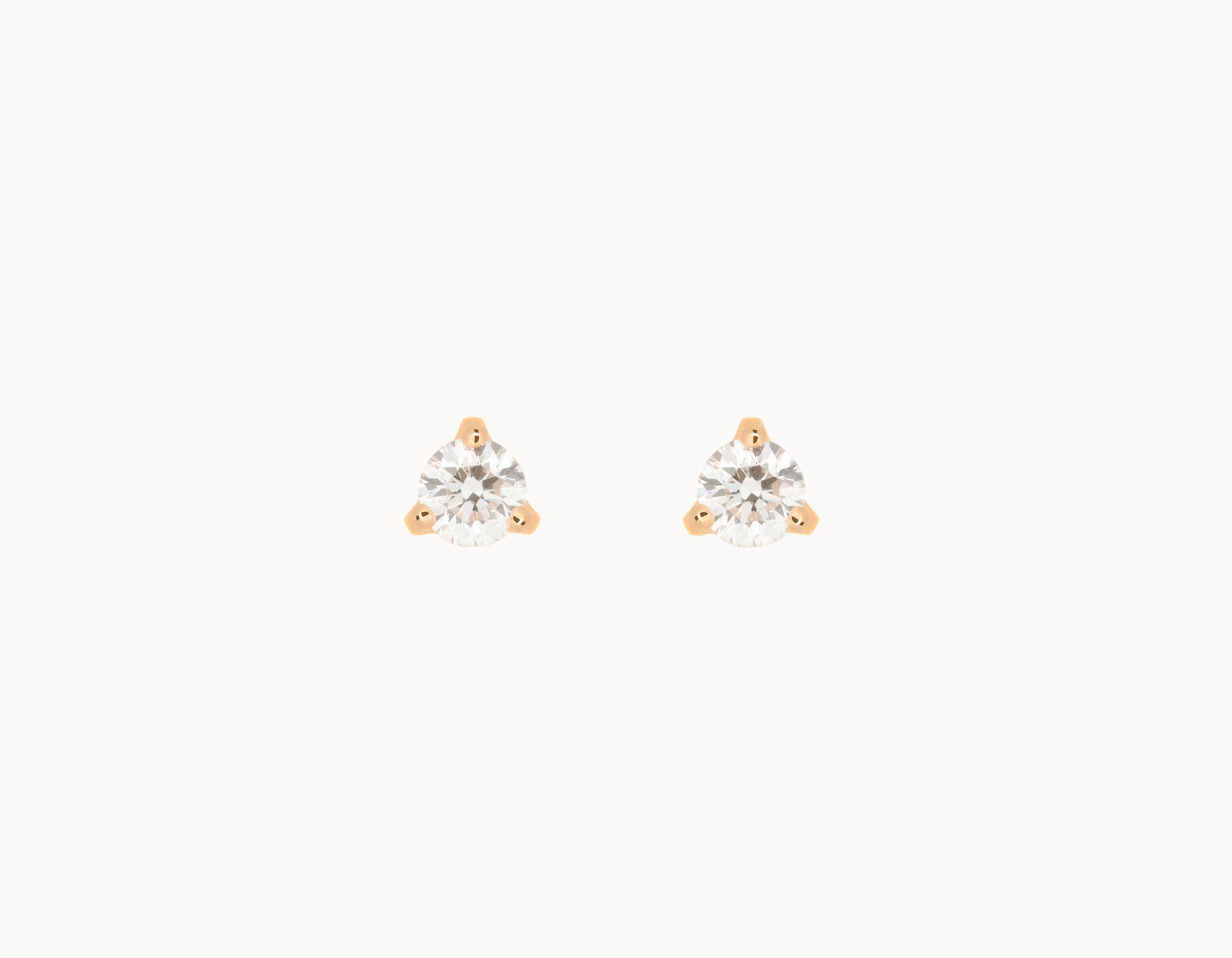 Simple Clic 14k Rose Gold Tiny Diamond Stud Earring