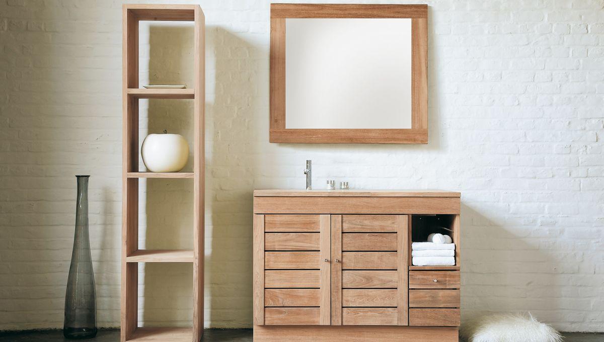 Cool teak wooden bathroom furniture design
