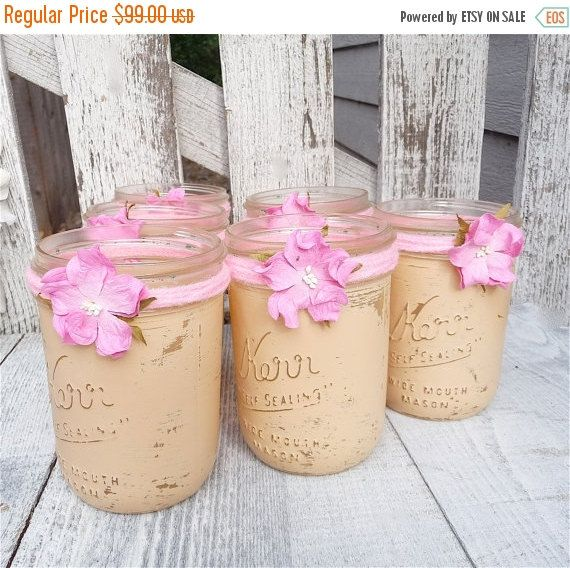 WEDDING SALE Rustic Wedding Jars - Shabby Chic Country Upcycled Mason Jar Candle Holders, Vases, Centerpieces, Decor SET Of 12