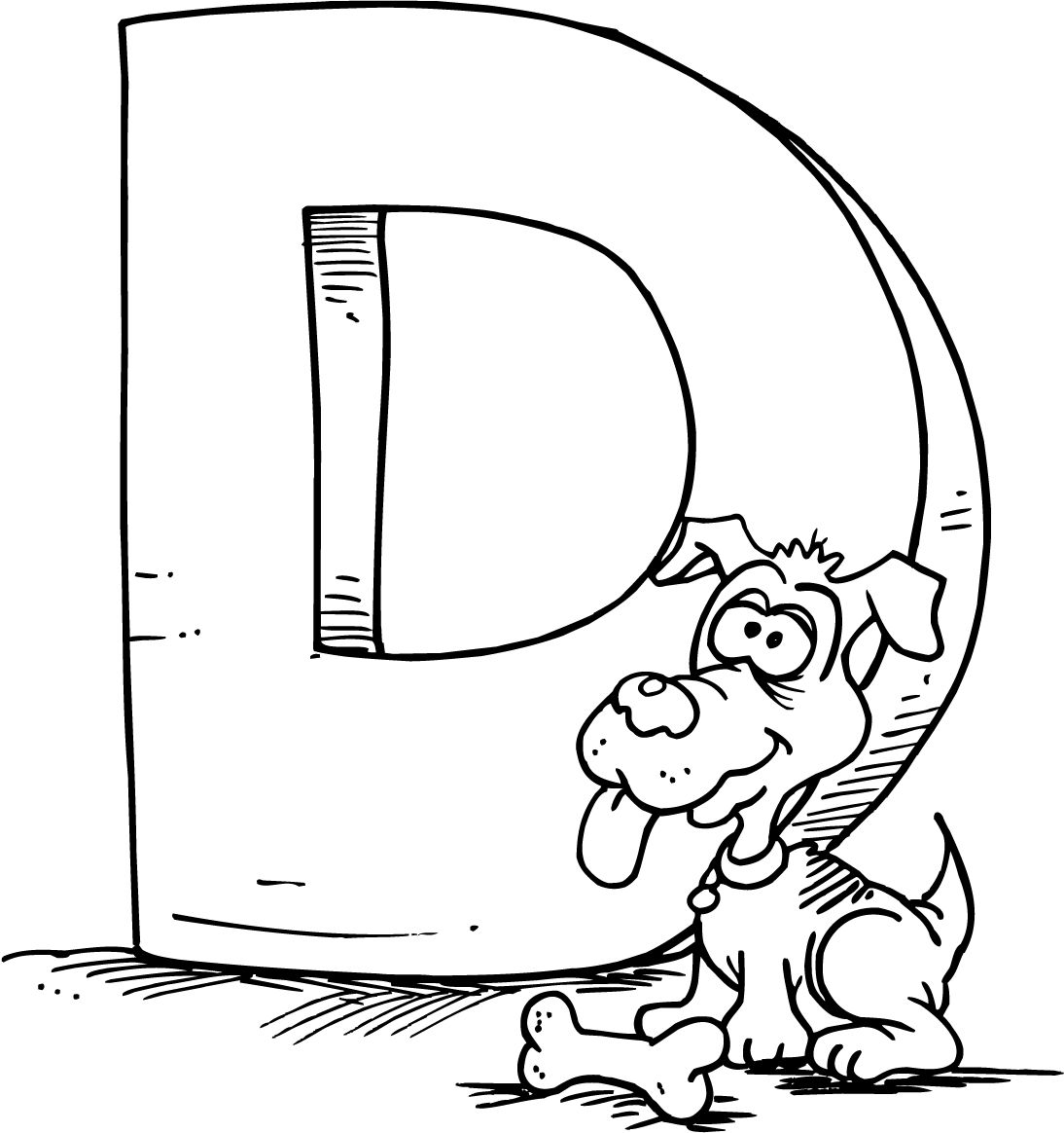 colouring page of a cartoon letter d with a dog | school - pk - k