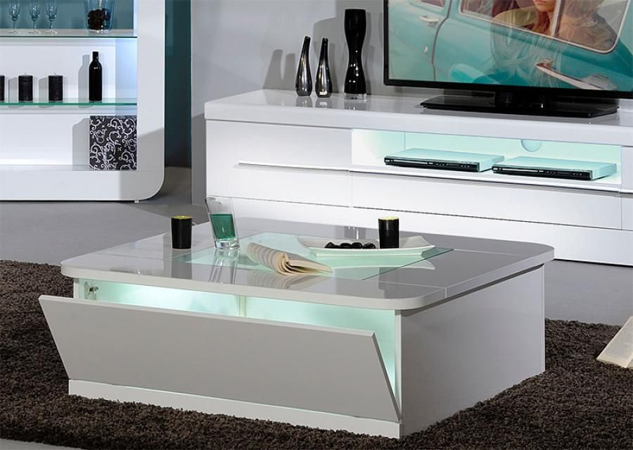 White Coffee Table Gloss Square With Shelves And Glass Top