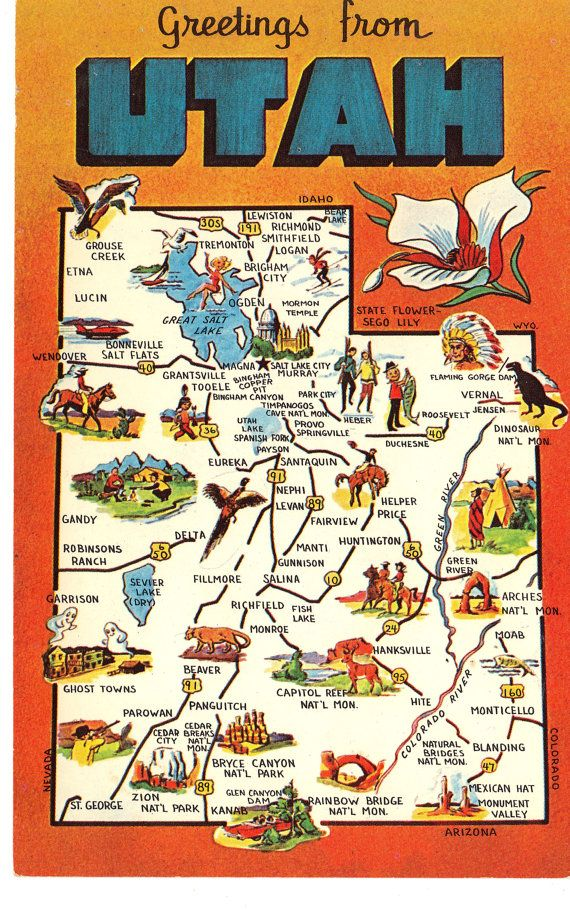 Utah State Map Postcard Greetings from by heritagepostcards