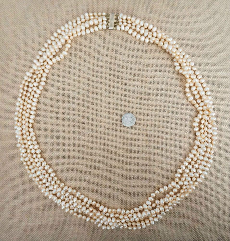 Vintage Estate NWOT Les Bernard Faux Ivory Pearl Necklace Sterling Silver Clasp #LesBernard #MultiStrand