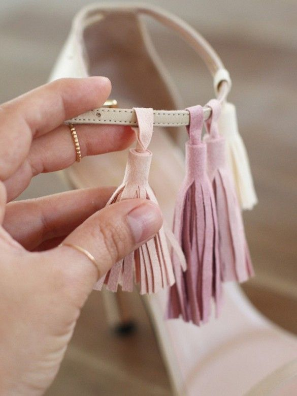DIY Tassel - try out the tasseled sandals trend without splurging on an expensive designer pair.