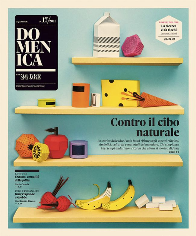 Patterned paper food created by Happycentro for the cover of Domenica, the Sunday magazine of national Italian newspaper II Sole 24 Ore.