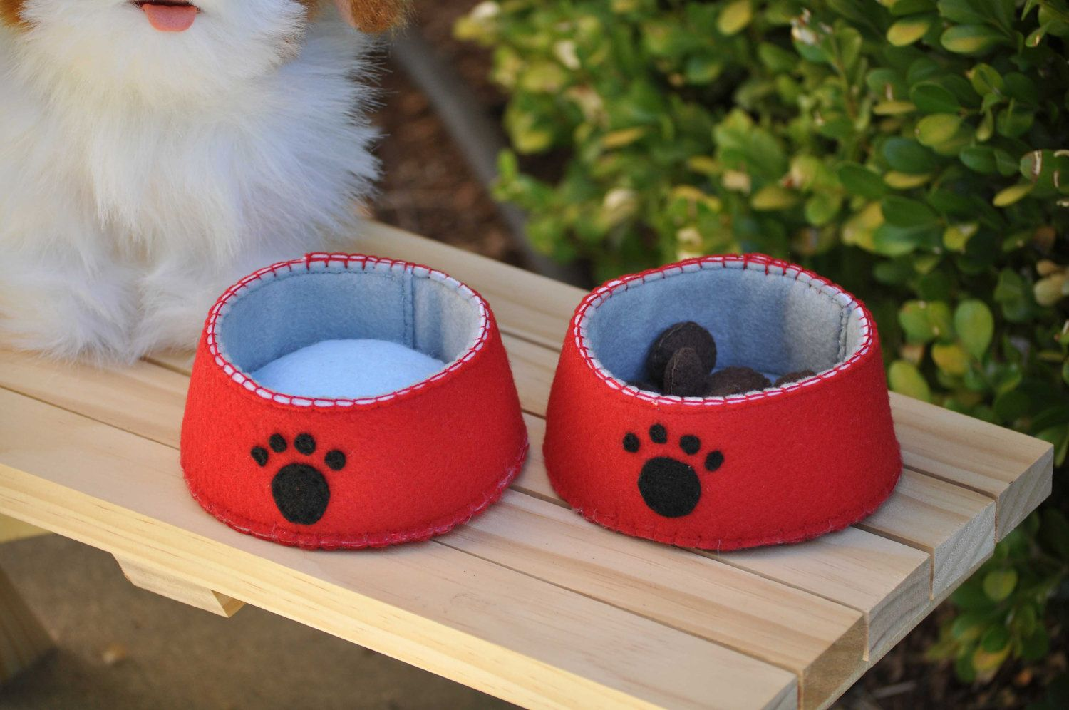 Pretend Play Dog Food And Water Bowl Felt Toys Felt Diy