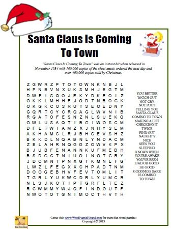 santa claus is coming to town word search printable word search puzzle for christmas xmas