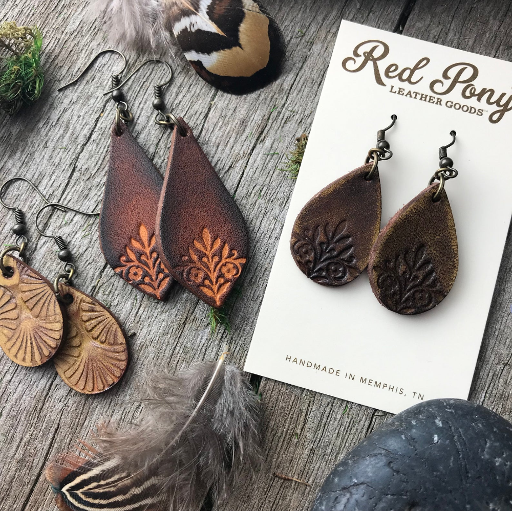 Photo of Hand Tooled Fancy Teardrop Caramel and Chocolate Brown Leather Earrings