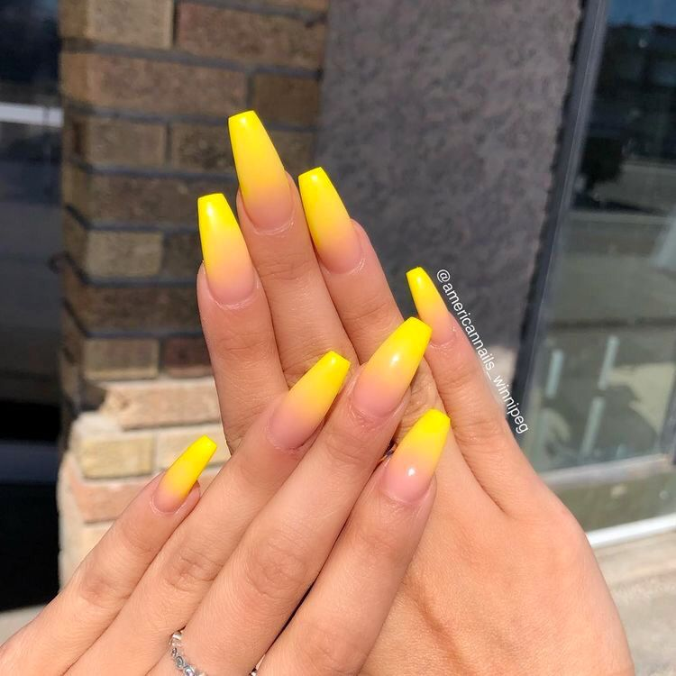 Over 50 Bright Summer Nail Art Designs That Will Be So Trendy All Season Ecemella American Nails Ombre Acrylic Nails Yellow Nails