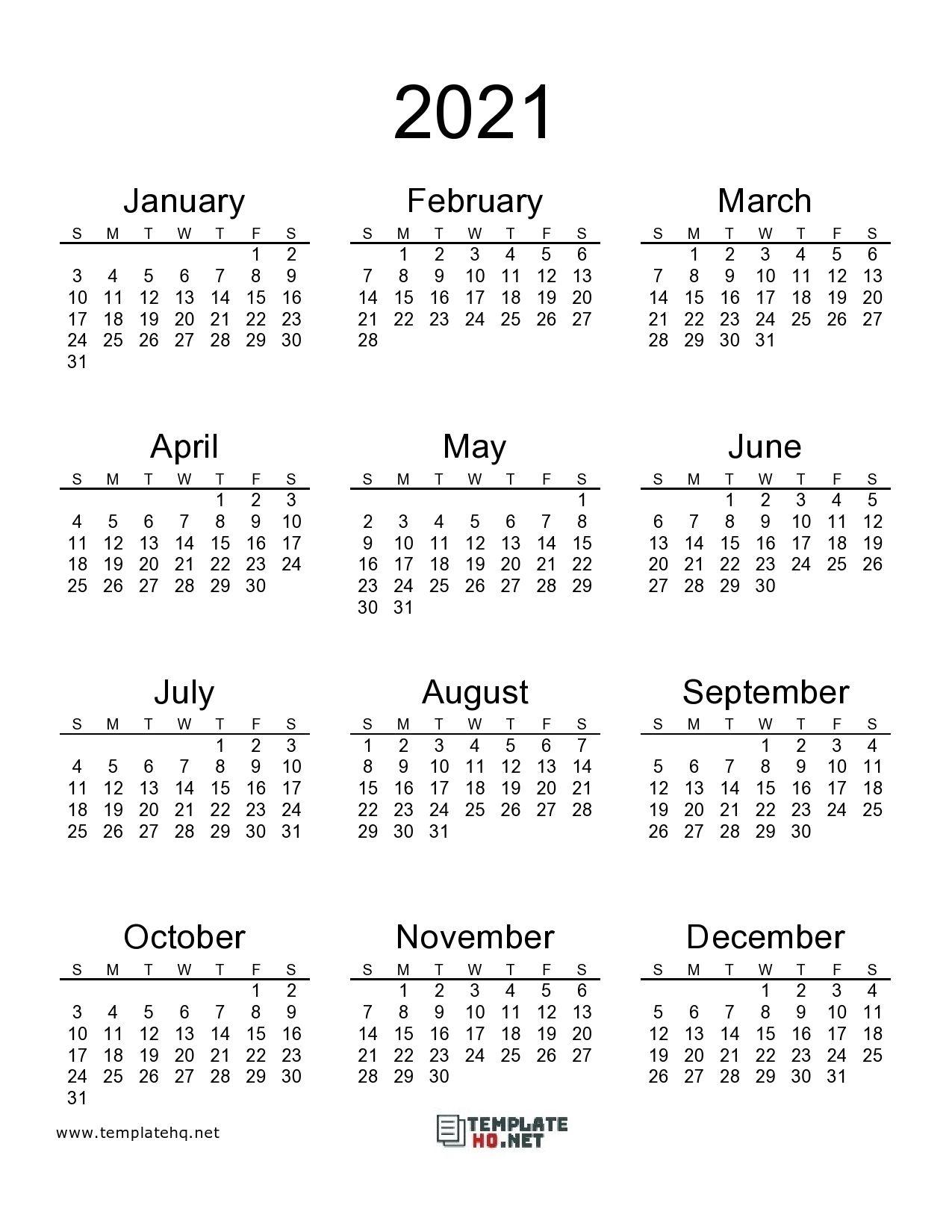 Free 2021 Calendar Printable in 2020 2021 calendar