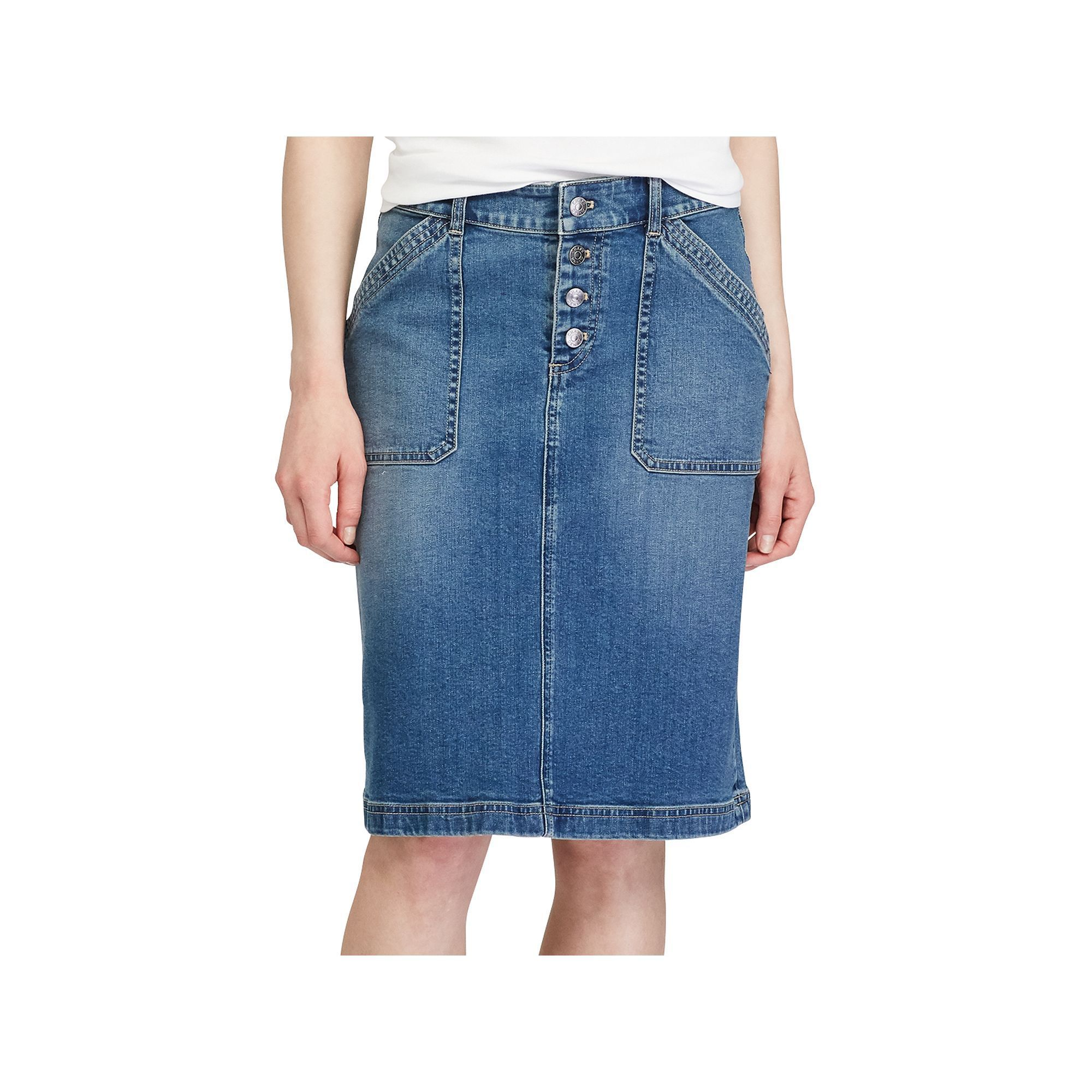 0750af9654 Women's Chaps Stretch Jean Skirt, Size: 16, Blue | Products | Jean ...