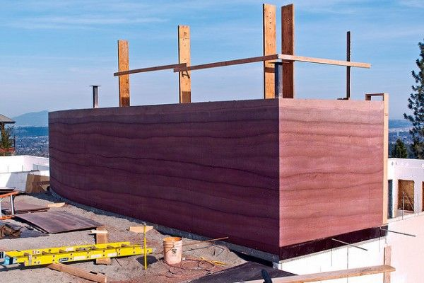 50 Foot Rammed Earth Wall - example of an eco building of the future.