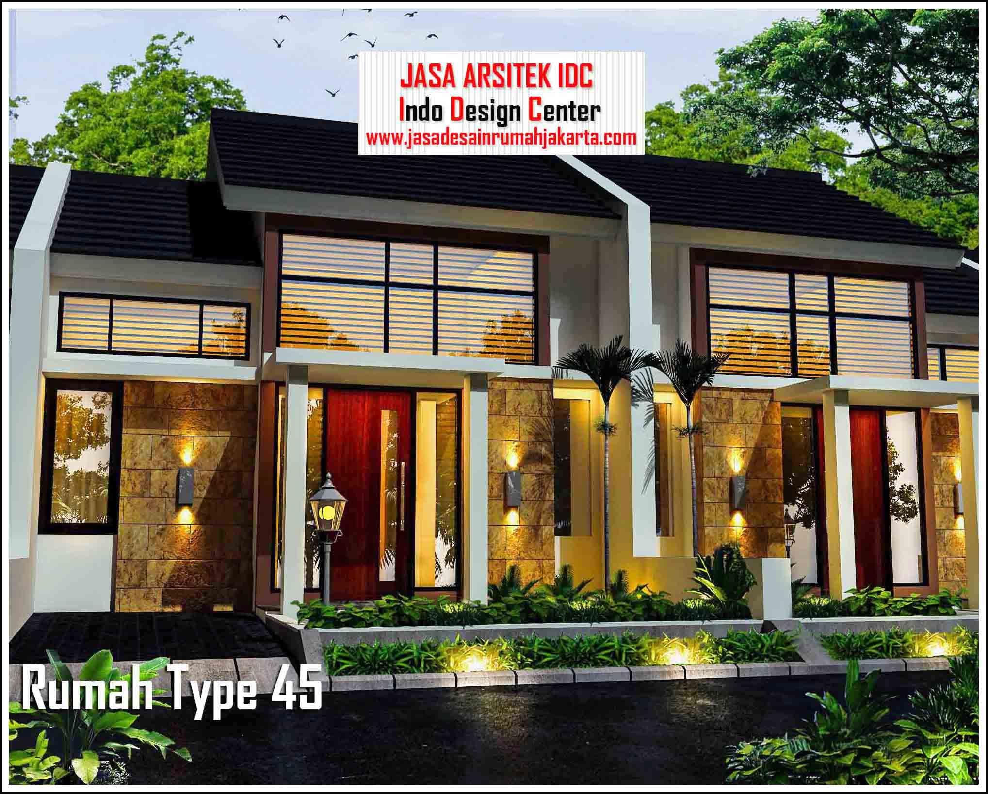 Desain Rumah Minimalis Type 45 Modern Tampak Depan 02