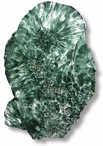 Seraphinite is a trade name for a particular form of clinochlore, a member of the chlorite group. The dark green color of seraphinite is enhanced by a silvery and feathery shimmer caused by mica inclusions. It has since been discovered in a number of other locales in the USA, including New York, Arizona, and New Jersey. Clinochlore can also be found in other countries, including Spain, Switzerland, Russia, Turkey, and Italy.