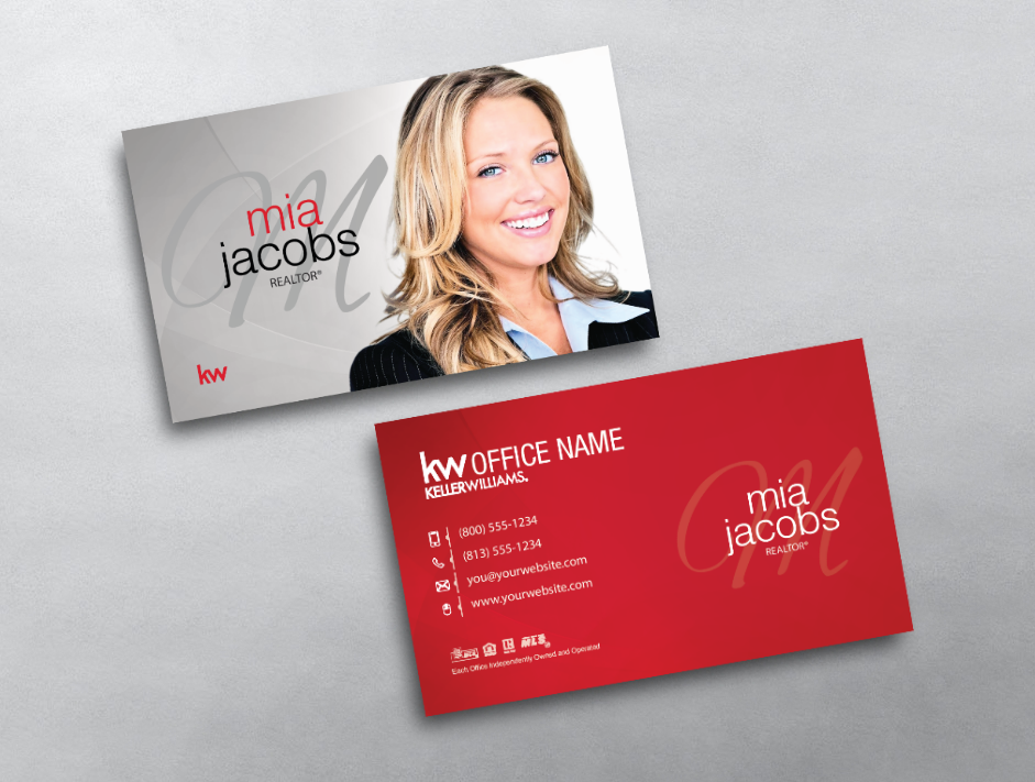 This monogram keller williams business card design features a this monogram keller williams business card design features a prominent agent photo and stylized monogram in reheart Image collections