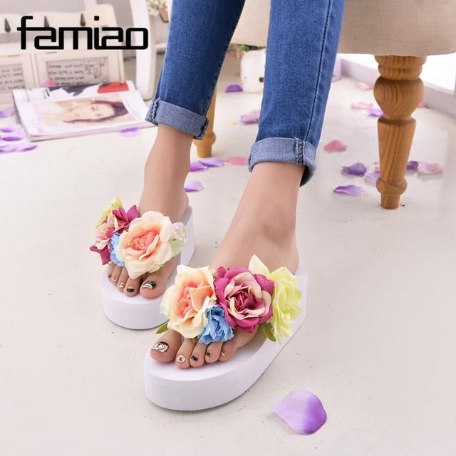 2f67318c1 New Women Sandals Fashion Flower Summer Sandals Wedges Flip Flops Platform  Slippers Shoes slippers zapatillas chinelo