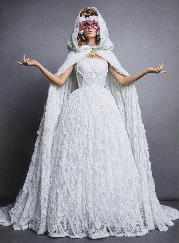 Gisele Is A Masked Bride On Vogue Paris Bundchen In Dolce Gabbana Wedding Dress
