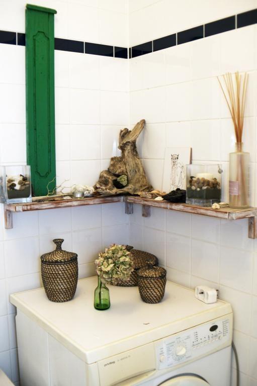 Natürliche Badezimmerdeko in grün in Berliner Wohnung #Badezimmer - dekoration für badezimmer