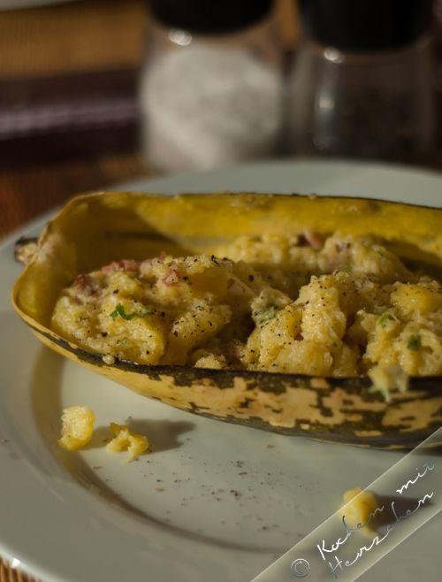 Kochen mit Herzchen - ♥ Mein Koch-Tagebuch mit viel Herz ♥: Spaghettikürbis a la Carbonara