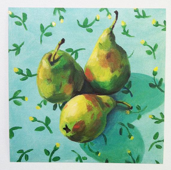 Folk art PRINT of acrylic painting- Still life of Pears and flowers /  wall art- wall decor- home decor art print - yellow