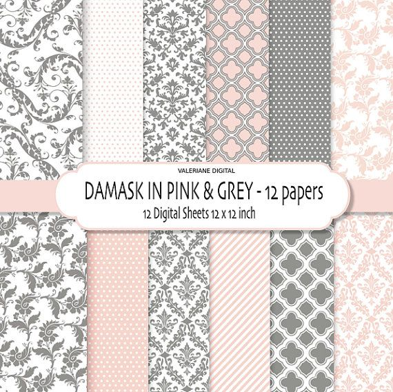 Damask Digital Paper Pack In Pink And Grey Damask Scrapbook Paper