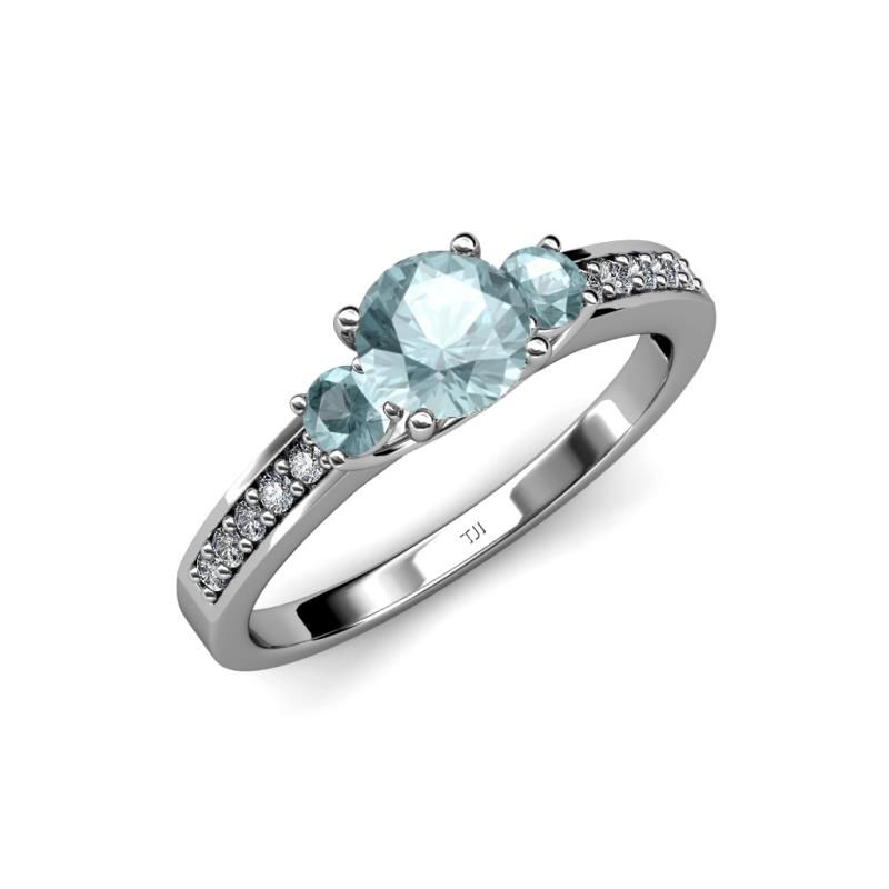 Sweetly Express How Much She Means To You With This Engagement Ring Wh Three Stone Engagement Rings Three Stone Engagement Rings Gold Gemstone Engagement Rings