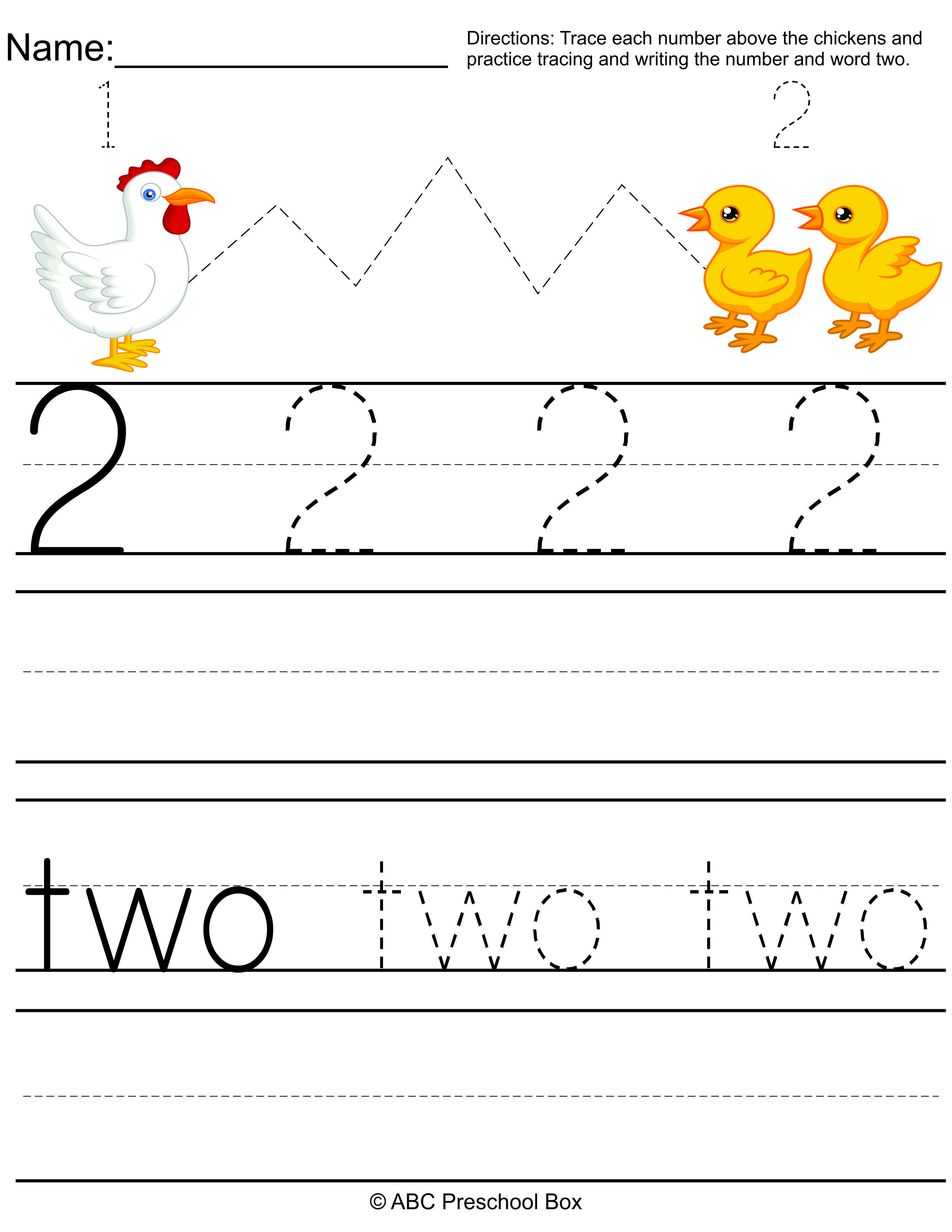 number 2 preschool worksheet from abcpreschoolbox.com ...