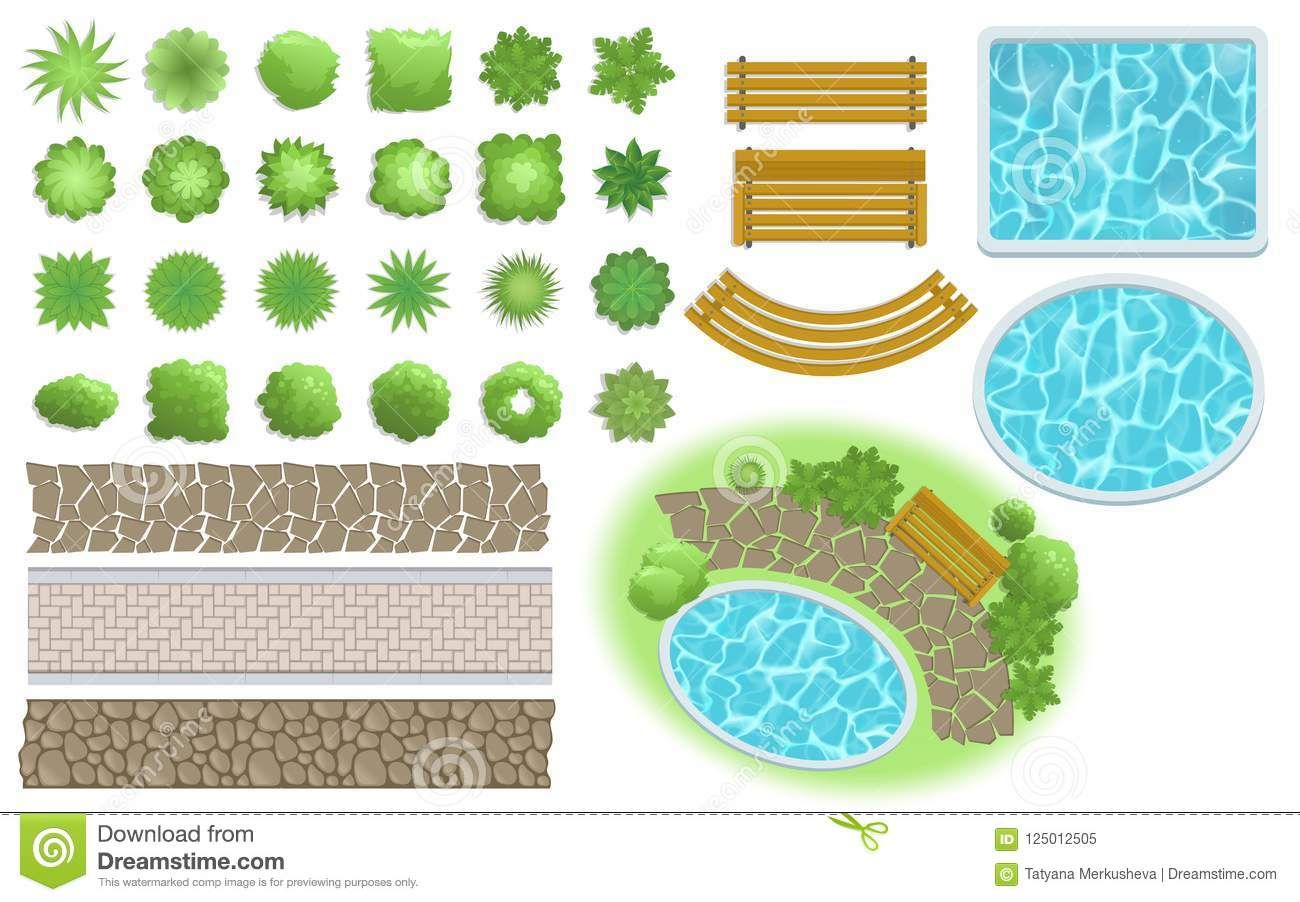 Landscape Design And Garden Elements Footpath Bench Pool Plants Top View Landscaping Sy Garden Landscape Design Landscape Design Landscape Design Drawings