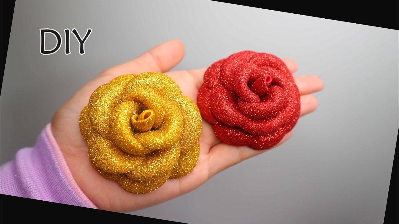 Diy Easy Glitter Foam Sheet Flower Roses Foamiran Rose Eva