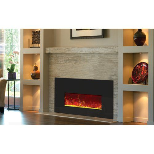 Amantii Electric Fireplace Insert With Black Glass Surround