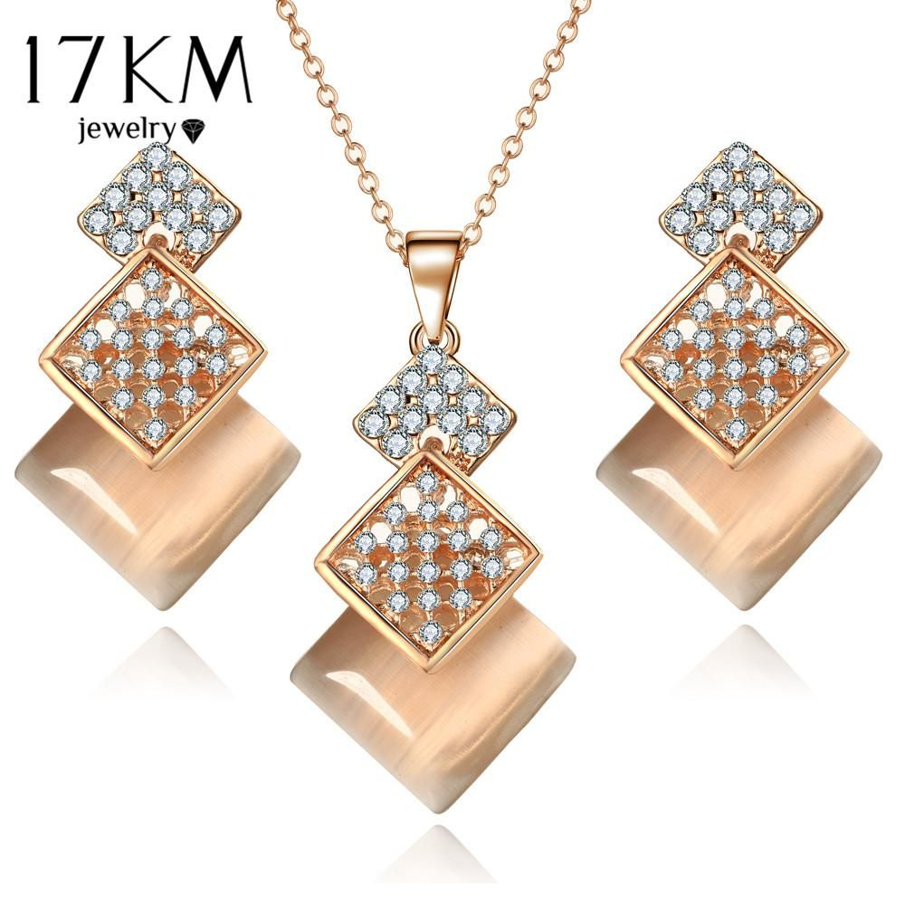 Km geometric jewelry set for woman gold color long necklace