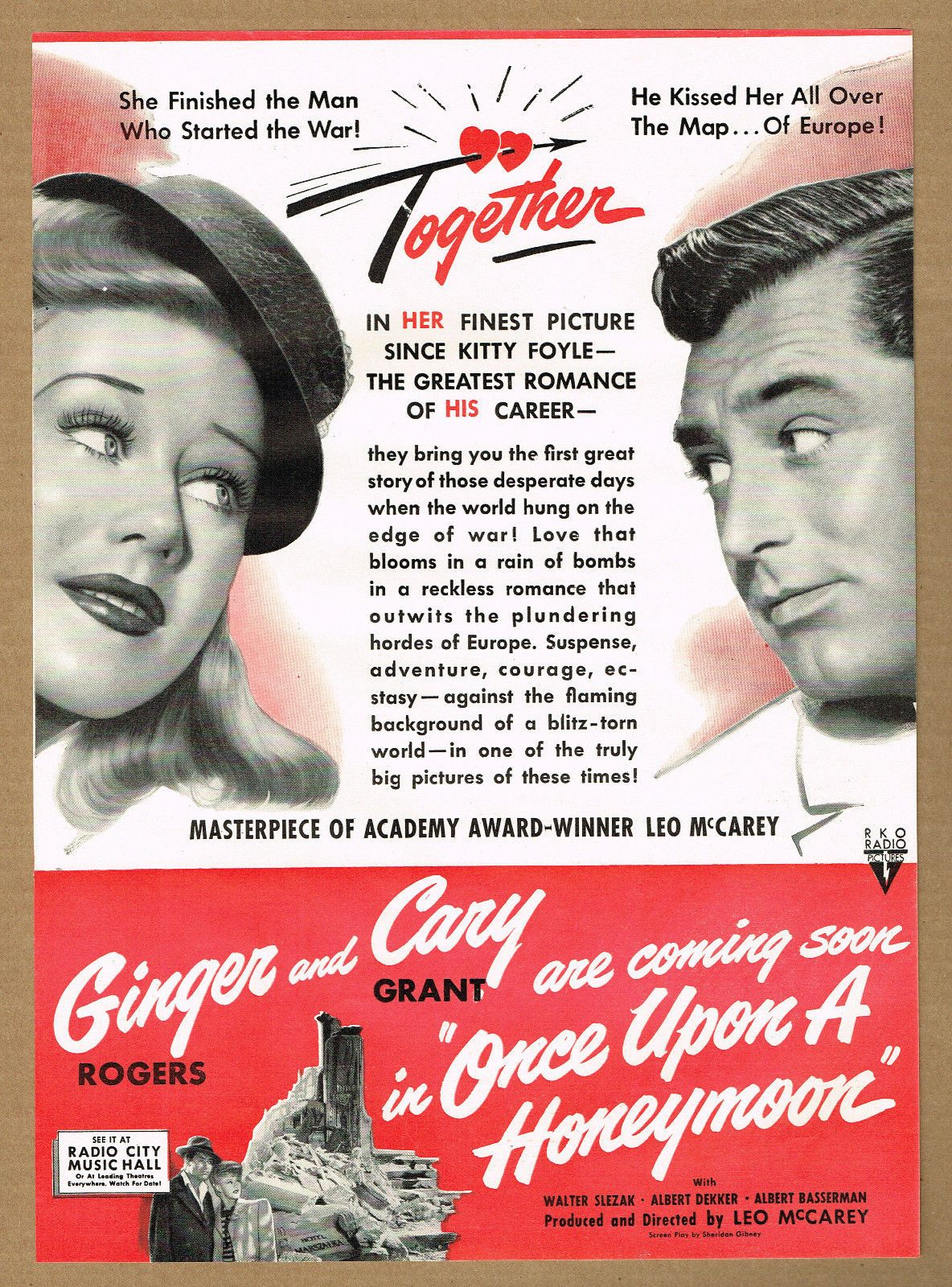 Cary Grant Ginger Rogers Once upon a Honeymoon ad
