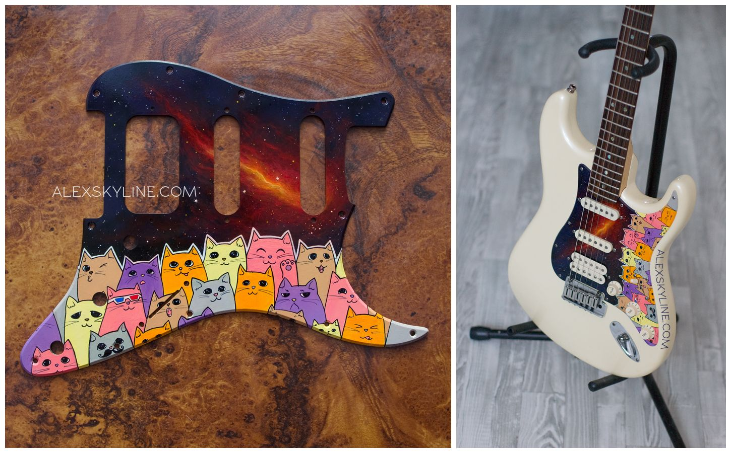Space Kitties Custom Pickguard Ii By Alexskylinedeviantartcom On Mexican Strat Wiring Diagram Fender Stratocaster Hss Deviantart A Hand Painted I Made For My Friends American Deluxe